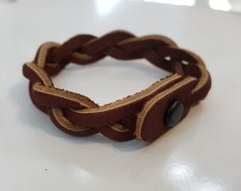 Mystery Braid Leather Bracelet - Two tone leather, braided leather, snap closure, mystery bracelet