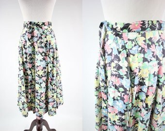1970's High-waisted Floral Midi  A-line Skirt w/ Tie
