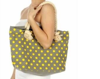 Gray/yellow polka dot tote