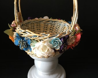 Multi-Color Flower Girl Basket