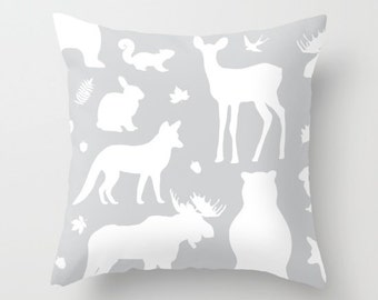 Woodland Animals Pillow With Insert - Forest Animals Pillow Cover - Woodland Nursery Decor - Grey Pillow Cover - Nursery Decor