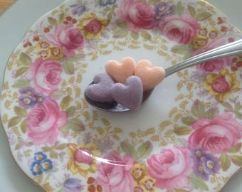 100 Mauve/Blush Heart Shaped Sugar cubes for all Occasions