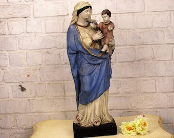 Large 19th century Statue Virgin Mary Infant Child Polychrome Plaster Chapel