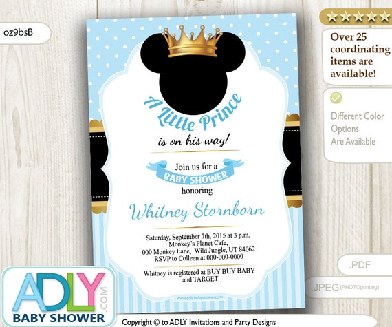 Prince Mickey Baby Shower Invitation baby blue polka