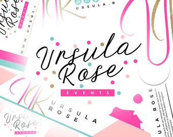 6 Piece Premade Branding Set Design | Pink Branding Design | Multicolor Branding Kit | Confetti Branding | Colorful Pink Teal Logo Design