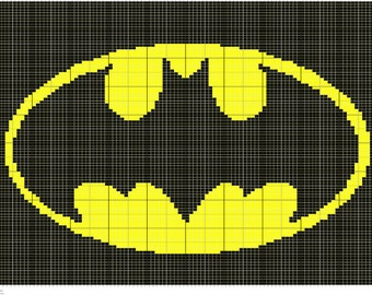 Crochet Batman Symbol Chart, Crochet Batman Graph Pattern, PDF Digital Files