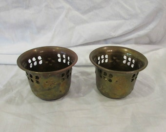 Candleholders, Tea Light, Votive, Brass, Set of Two, India, 1970's or 1980's
