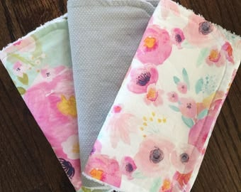 Summer Floral set of 3 burp cloths