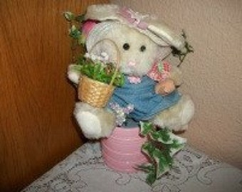 Floral Centerpiece White Bunny Rabbit Stuffed Plush Animal Spring Flowers Easter Home Decor