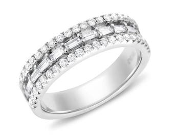 0.66 Ct. Natural Diamond Baguette & Rounds Wedding Band In Solid 18k White Gold
