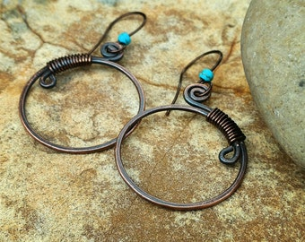 Boho Tribal Gypsy Earrings with Turquoise with matrix.