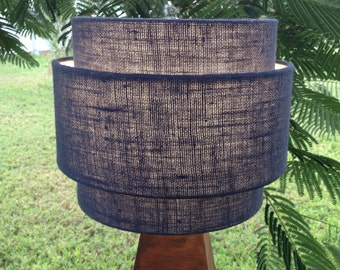 "3 Tiered hardback lampshade in ""Navy"" burlap fabric, best for small table lamps. Free shipping to lower 48 states."