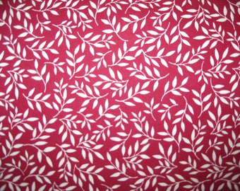 100 percent cotton fabric/maroon with white vines/quilting/crafts/sewing