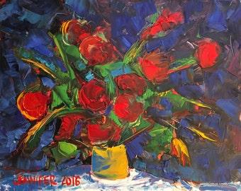 "Fun Flowers Red, Oil, 10x8"""