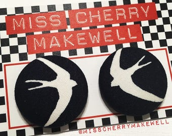 Swooping Swallows Nautical Hello Sailor Fabric Button Rockabilly 1950's Pin Up Vintage Inspired Stud Earrings By Miss Cherry Makewell