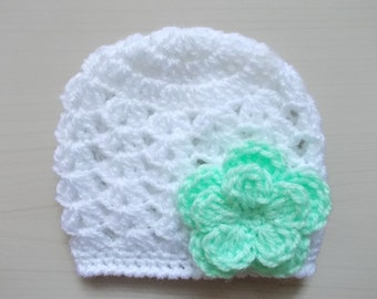Baby girl hat White baby girl hat Newborn girl beanie Crochet baby hat White newborn hat Spring baby hat Girls hospital hat White baby hat