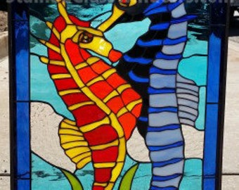 Colorful! Seahorse Leaded Stained Glass Window Panel (We do custom work! Please email me for a quick quote)