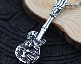 Retro design  S925 Sterling Silver  punk  guitar skull rock pendant  diy necklace