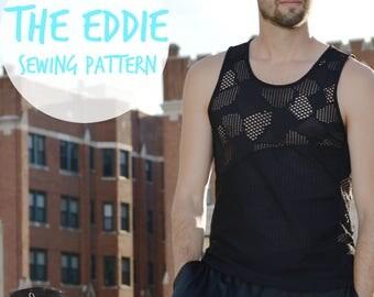 Men's Workout Tank Sewing Pattern // The Eddie // Running Shirt Singlet Pattern // Gym Tank Mens Sewing Pattern // Workout Shirt Tank Top