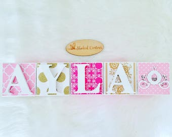 Personalised Personalized Wooden Name Blocks- Decoupage name blocks- Letter Blocks- Nursery Decor- baby girl, princess, pink and gold theme