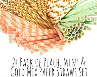 Mint, Peach and Gold Striped Paper Straws, Gold Chevron Straws, Peach and Mint Chevron Drinks Straws, Zig Zag Straws, Party Supply, Decor