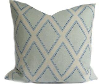 "Pillow Sarah Richardson Kravet Brookhaven, Chambray 20"" sq."