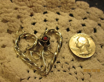 Vintage Southwestern American Indian Sterling Silver 925 & Genuine Coral Heart Pendant, Weight 11.5 Grams