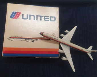 Schabak 1:600 Scale Die Cast Airplane United Airlines Airbus A-320 Airplane Made in Germany Vintage Airplane Miniatures