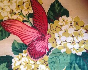 Gorgeous Mid Century Bark Cloth Nos Huge Piece Butterflies