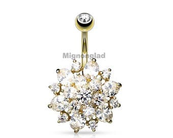 """14g 7/16""""  Dahlia CZ Cluster Navel Ring 316L Surgical Steel / Belly Button Ring"""