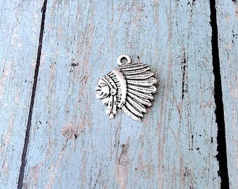 5 Indian chief charms (1 sided) antique silver toned- silver Indian pendants, southwestern charms, tribal charms, Native American charm, K11
