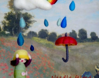 Raindrops are perfect lullaby handmade OOAK Needle felted wool decorative mobile