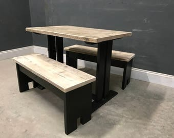Vintage Kitchen Dining Table and Benches made from Reclaimed Timber - Small Dining Table Set. Table with Benches. I-frame table.