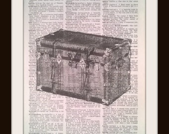 Old Trunk Dictionary Encyclopedia Page Print~Authentic Book Pages~Old West-Decoration-Paper Gift -Historical-vintage antique modern Wall Art