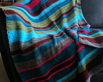 Striped Colorful Crochet Blanket