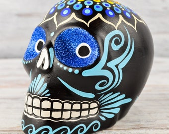 D103 Clay Skull Day of the Death Oaxacan Wood Carving Painting Handcrafted Folk