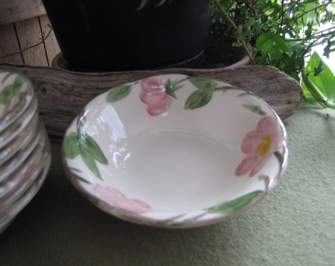 Franciscan Desert Rose Dessert Bowls England Backstamp 1976 - 1984 Hand Painted Vintage Dinnerware Set of Seven (7) Bowls