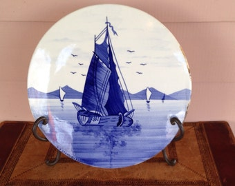 Delft-style Decorated  German Wall Plaque - Blue & White - Sail Boats - Round Glazed Ceramic Tile