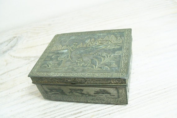 Vintage Tin Carved Box Cedar Lined Jewelry Box Antique Hinged Metal Box Village Maiden Walking Dog Made in Japan 1930s