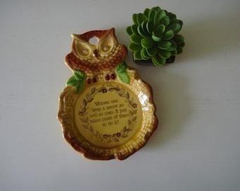 Vintage Owl Spoon Rest - Ceramic Owl Spoon Rest w/ Googly Eyes