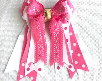 Horse Show Hair Bows/pink equestrian clothing/Valentine gift/Ready2Mail with barrettes