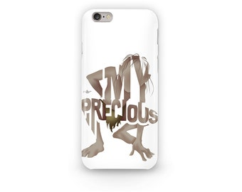 "Gollum Phone Case Typography Design from Lord of The Rings and Hobbit with his Quote, ""My Precious"" protecting The Ring of Power"