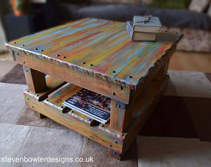 FREE UK SHIPPING Rustic Reclaimed Wood Coffee Table in Multi Coloured Old Boatwood Style Finish & Undershelf Storage Handcrafted to Order