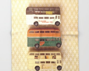 Beatles Buses Throw Blanket: bedding, home decor, baby blanket, toys, double decker buses, England, London, British, yellow, brown