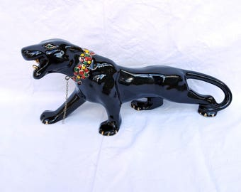 Mid-Century Ceramic Black Panther Figurine