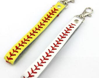 Leather Baseball or Fastpitch Keychain