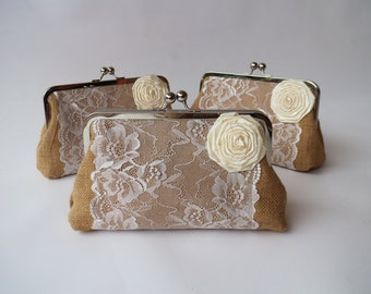 Burlap  lace Clutch - Bridal Clutch / Bridesmaids / Gift for her / Express shipping / Dinner clutch / Women / Bag / Purse / Pouch