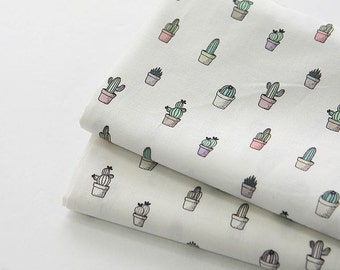 Little Cactus Pattern Digital Printing Cotton Fabric by Yard - 2 Color Selection