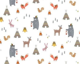 Camping with Bear 20s Cotton Oxford Fabric