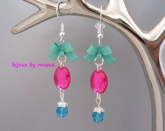Fashion jewelry earrings pink fushia, turquoise and green rhinestone oval